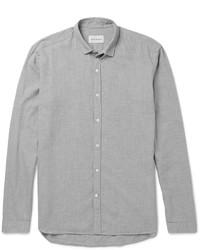 Camisa de manga larga de franela de espiguilla gris de Oliver Spencer