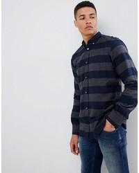 Camisa de manga larga de franela de rayas horizontales azul marino