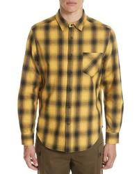 Camisa de manga larga de franela de tartán amarilla