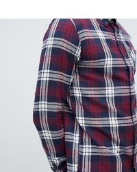 Camisa de manga larga de franela de tartán en blanco y rojo y azul marino
