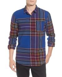 Camisa de manga larga de franela de tartán en multicolor