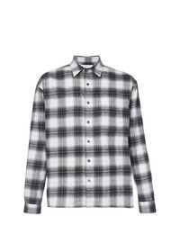 Camisa de manga larga de franela de tartán en negro y blanco