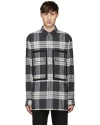 Camisa de manga larga de franela de tartán gris