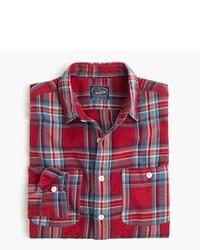 Camisa de manga larga de franela de tartán roja