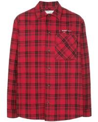 Camisa de manga larga de franela de tartán roja de Off-White