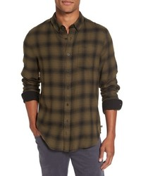 Camisa de manga larga de franela de tartán verde oliva