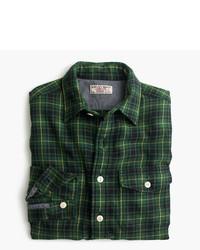 Camisa de manga larga de franela de tartán verde oscuro