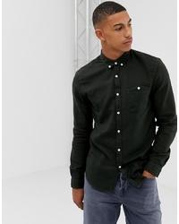 Camisa de manga larga de franela verde oscuro de Tom Tailor
