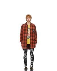 Camisa de manga larga de lana a cuadros naranja de Gucci