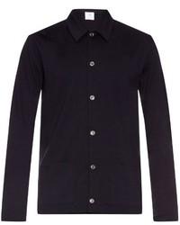 Camisa de manga larga de lana azul marino