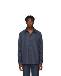 Camisa de manga larga de lana azul marino de Gucci