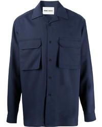 Camisa de manga larga de lana azul marino de Henrik Vibskov