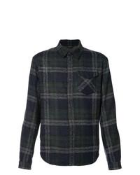 Camisa de manga larga de lana de tartán azul marino de Aztech Mountain