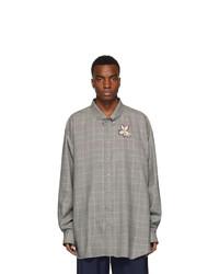 Camisa de manga larga de lana de tartán gris de Gucci