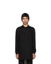 Camisa de manga larga de lana negra de Rick Owens
