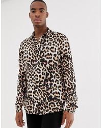 Camisa de manga larga de leopardo marrón