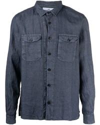 Camisa de manga larga de lino azul marino de Stone Island