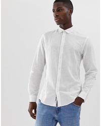 Camisa de manga larga de lino blanca de ONLY & SONS