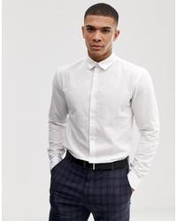 Camisa de manga larga de lino blanca de Selected Homme
