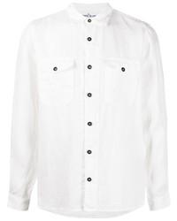 Camisa de manga larga de lino blanca de Stone Island