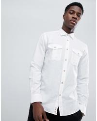 Camisa de manga larga de lino blanca de United Colors of Benetton