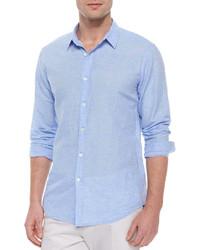 Camisa de manga larga de lino celeste