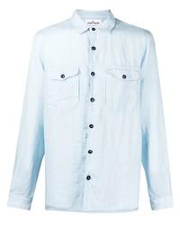 Camisa de manga larga de lino celeste de Stone Island