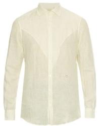 Camisa de manga larga de lino de rayas verticales blanca