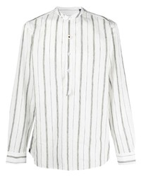 Camisa de manga larga de lino de rayas verticales blanca de Lardini