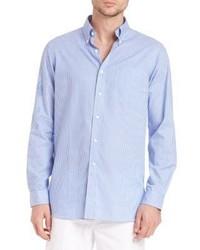 Camisa de manga larga de lino de rayas verticales celeste