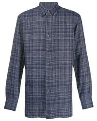 Camisa de manga larga de lino de tartán azul marino de Brioni