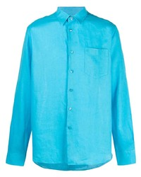 Camisa de manga larga de lino en turquesa de Vilebrequin