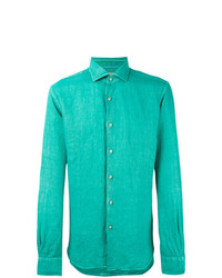Camisa de manga larga de lino en turquesa de Xacus