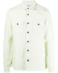 Camisa de manga larga de lino en verde menta de Stone Island