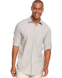 Camisa de manga larga de lino gris