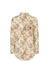 Camisa de manga larga de lino marrón claro