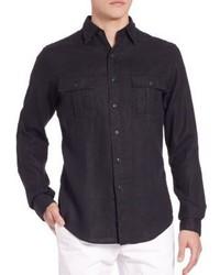 Camisa de manga larga de lino negra