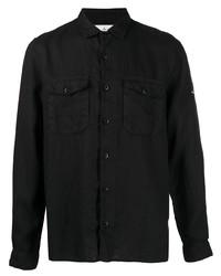 Camisa de manga larga de lino negra de Stone Island