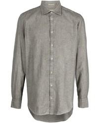 Camisa de manga larga de lino verde oliva de Massimo Alba