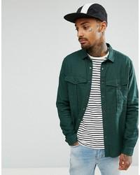 Camisa de manga larga de lino verde oscuro