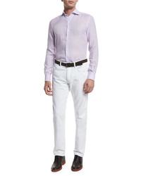 Camisa de manga larga de lino violeta claro