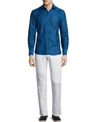 Camisa de manga larga de paisley azul marino