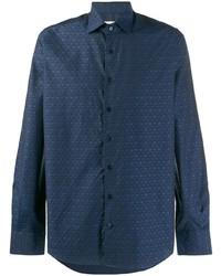 Camisa de manga larga de paisley azul marino de Etro