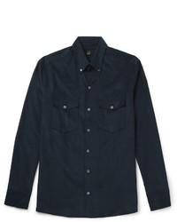 Camisa de Manga Larga de Pana Azul Marino de Dunhill