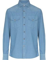 Camisa de manga larga de pana celeste de Brunello Cucinelli