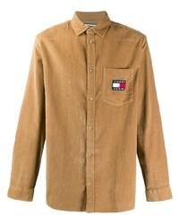 Camisa de manga larga de pana marrón claro de Tommy Jeans