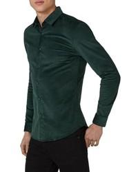 Camisa de manga larga de pana verde oscuro