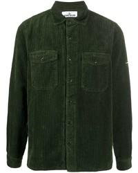Camisa de manga larga de pana verde oscuro de Stone Island