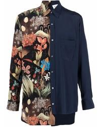 Camisa de manga larga de patchwork azul marino de Lanvin