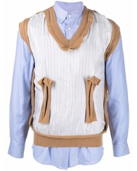 Camisa de manga larga de patchwork celeste de Maison Margiela